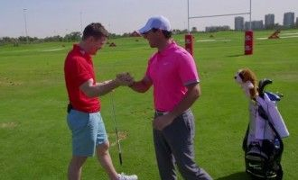 Rory McIlroy et le rugbyman Brian O'Driscoll s'affrontent à Abu Dhabi